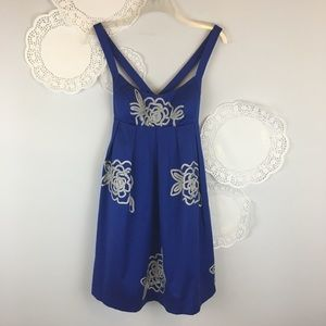 INC Floral Royal Blue Embellished Dress Size 0